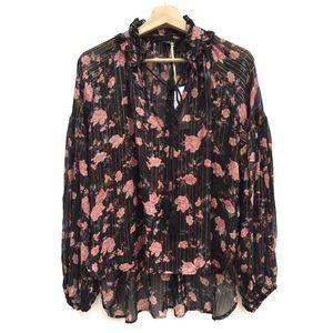 Zara Metallic Floral Lurex Peasant Blouse Top